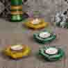 Decorated Handcrafted Diya set in hues of Green & Yellow - set of 4